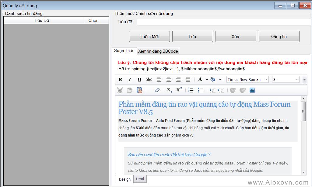 Trình soạn thảo trực quan - Phần mềm đăng tin, Phần mềm đăng tin quảng cáo, rao vặt tự động Aloxo Auto Poster