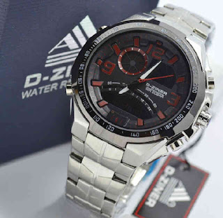 jam tangan D-ZINER DZ8061 Double time Silver chain Red