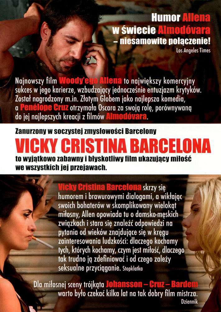 Ulotka filmu 'Vicky Cristina Barcelona (tył)'