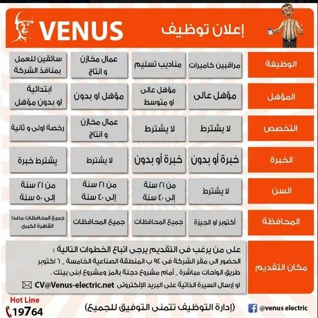 اعلان وظائف شركة فينوس Venus مؤهلات عليا جميع المحافظات التقديم الان