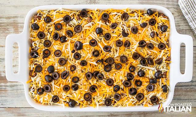 Mexican dip recipe ready to bake