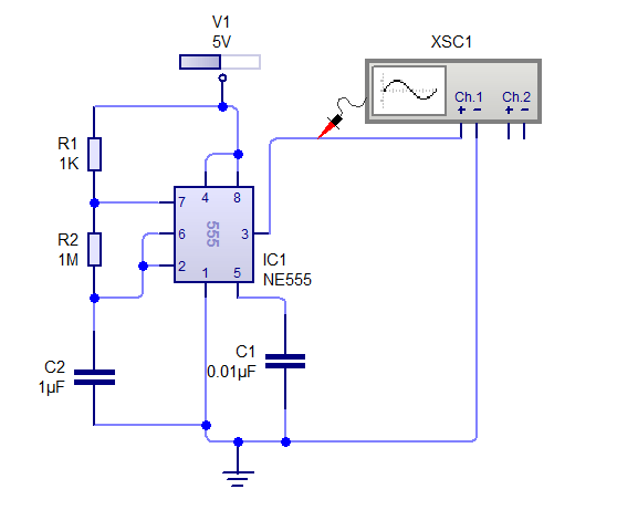 Astable Mode Circuit of 555 timer