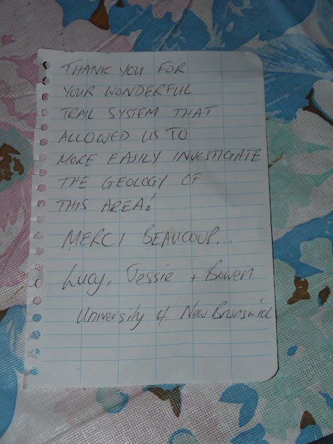 A nice note left at the Manicouagan camp