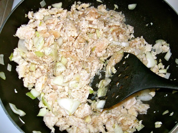 Brown ground meat in pan with chopped onions and garlic over medium heat. ...