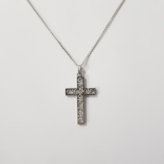 10K White Gold and Diamond Cross Pendant Necklace