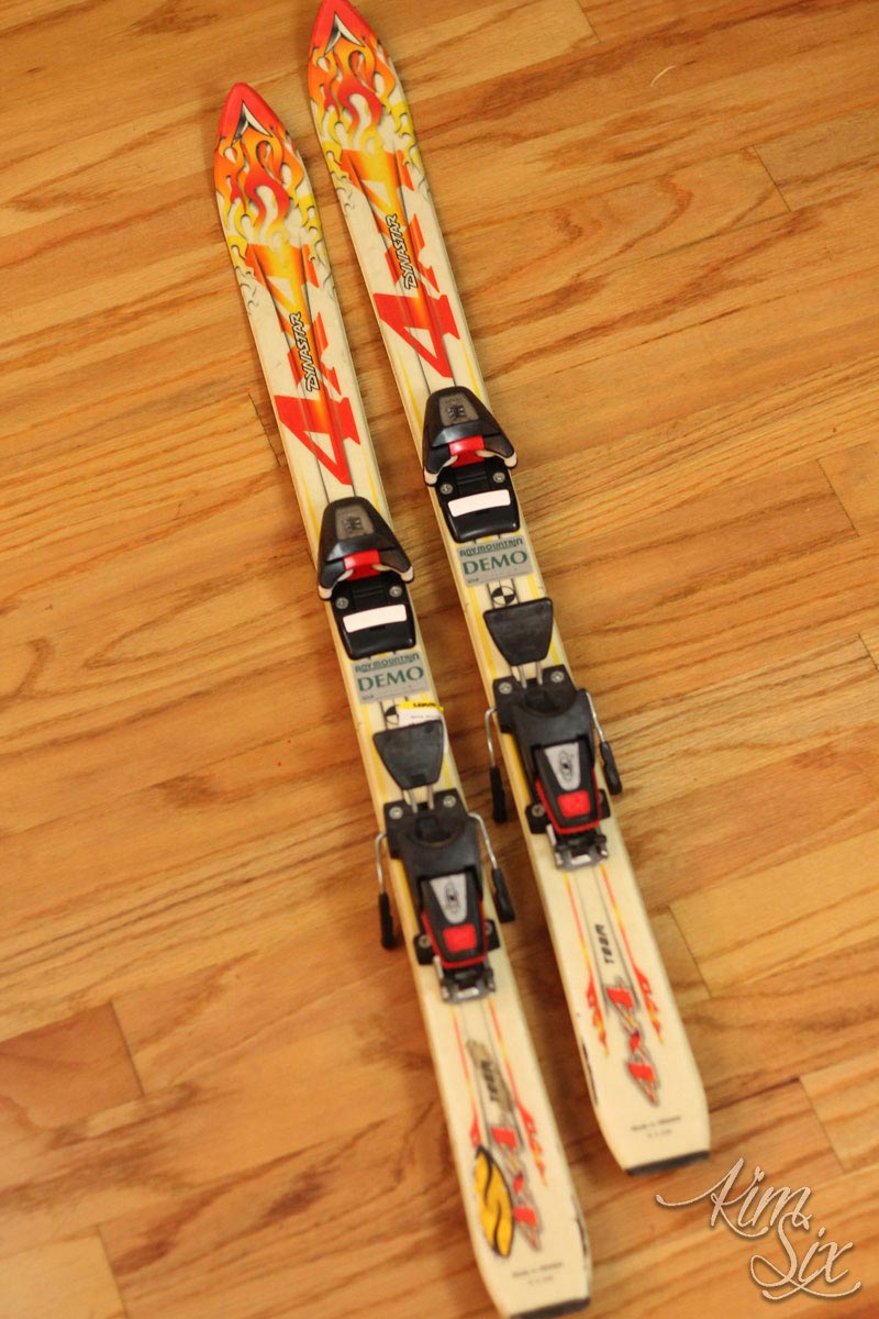 Thrift Store Skis before