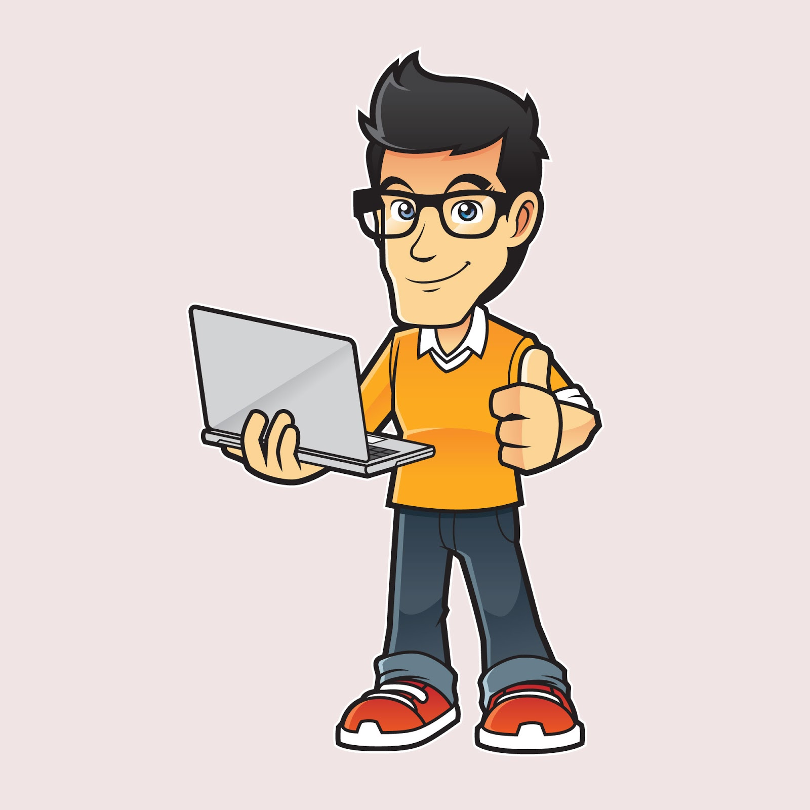 Computer Expert Mascot Illustration Free Download Vector CDR, AI, EPS and PNG Formats