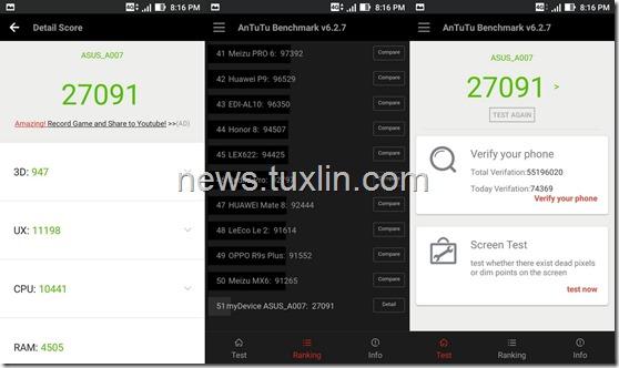 Benchmark Asus Zenfone Live ZB501KL AnTuTu v6
