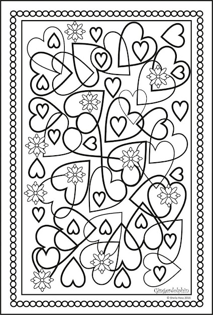 Heart And Flowers Colouring Page For All Ages An Art Therapy Relaxation  And Hobby Pastime Valentine Doodle