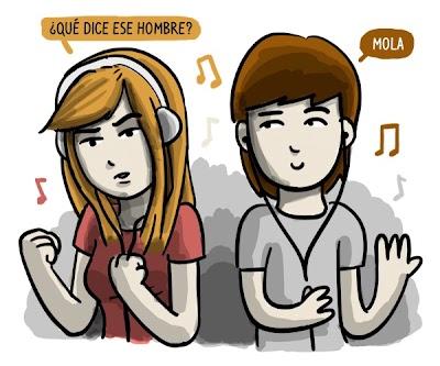 La musa y el artista escuchando música