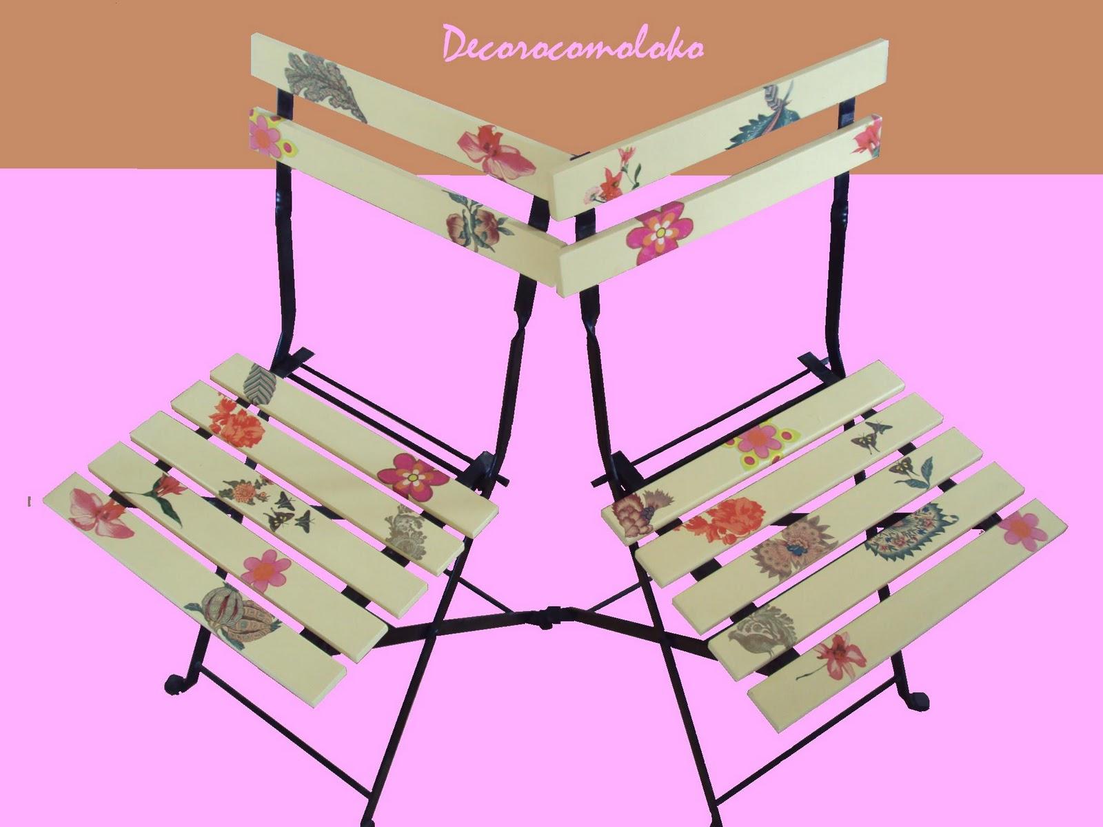 Decorocomoloko decoupage para una sillas de terraza - Sillas de plastico para terraza ...