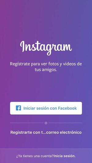 Registrarse en Instagram con correo electrónico
