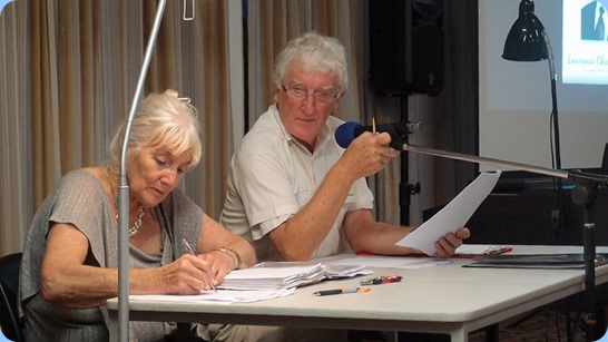 Our Secretary, Delyse Whorwood, busy scribing as President, Gordon Sutherland conducts the AGM. Photo courtesy of Dennis Lyons.