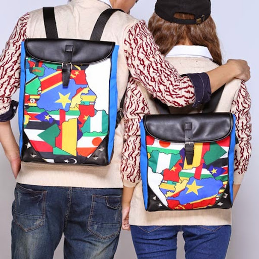 WholeBlue Map Backpack Mochilas Teenage Girl and Boys B