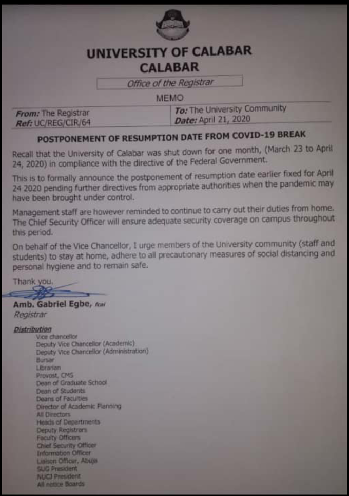 Covid 19: Unical postpones resumption indefinitely