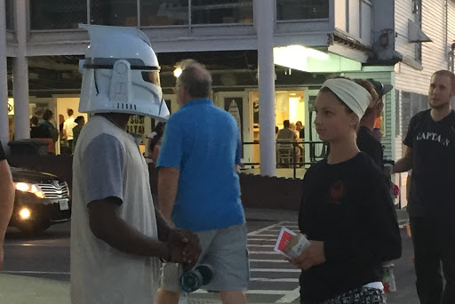 Caroline got to share the gospel one-on-one with a teen with  a very unique motorcycle helmet.