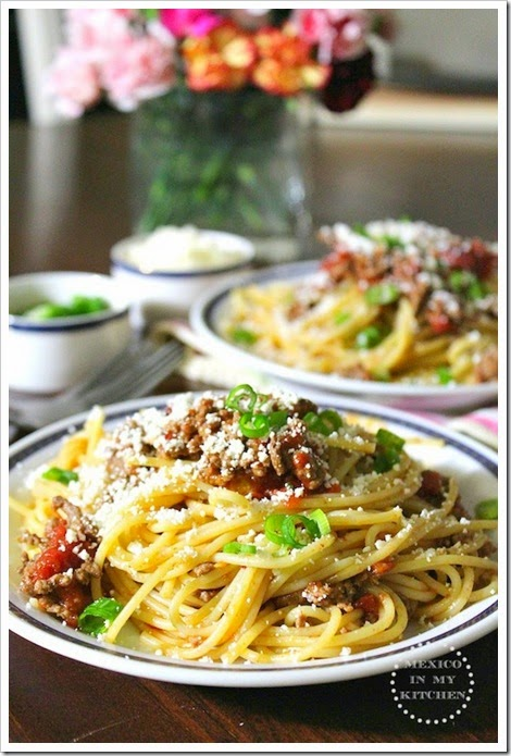 Spaghetti with Chipotle Ground Beef and Cotija | Mexican Recipes