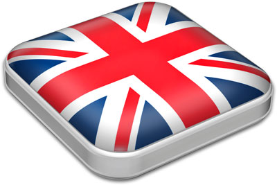 Flag of United Kingdom with metallic square frame