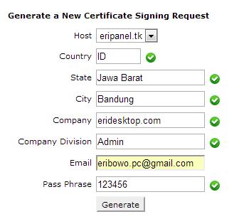membuat new certificate