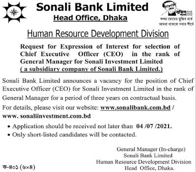 Sonali Bank Limited New Job Circular