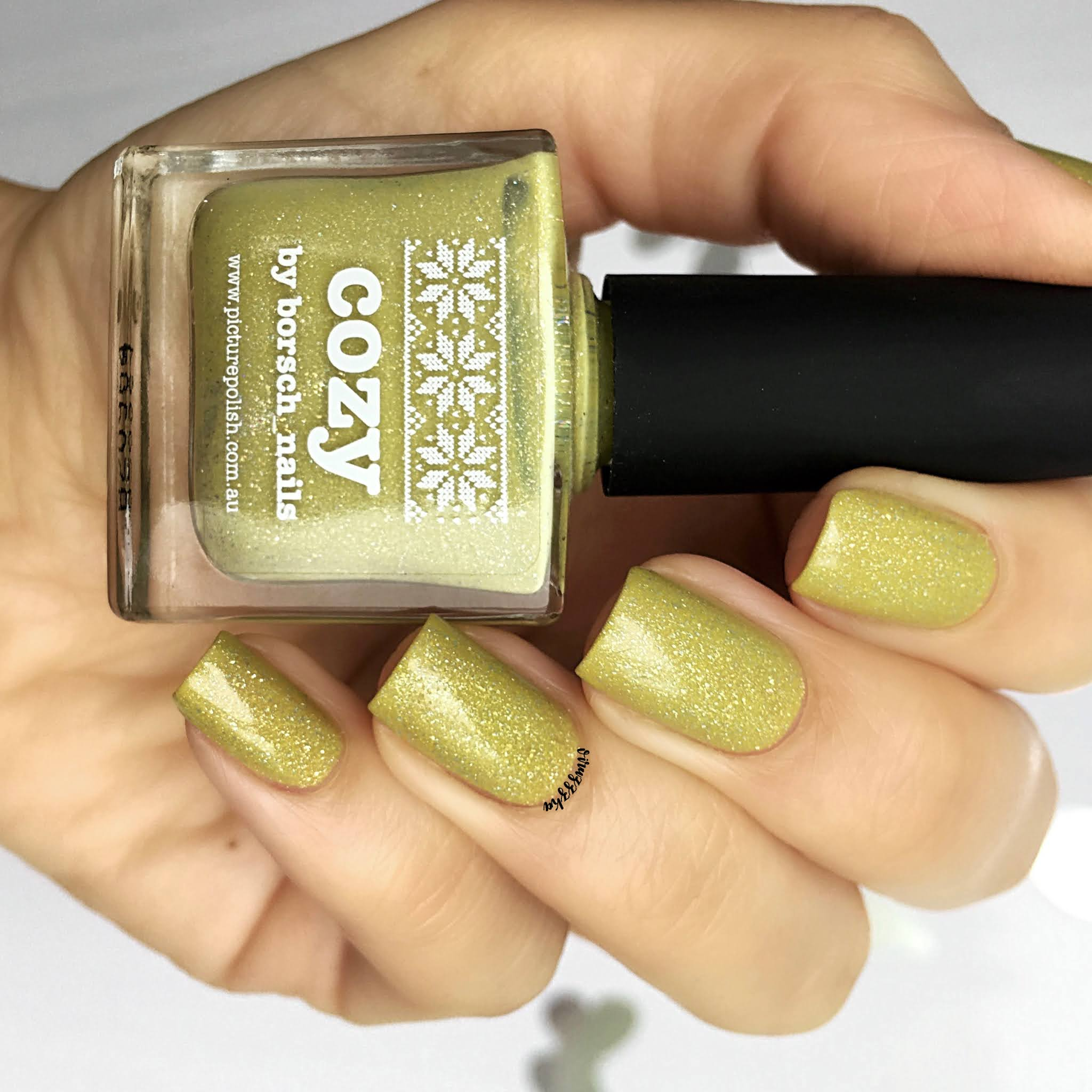 Picture Polish Cozy Nail Swatch Yellow Autumn Green Manicure Review