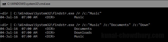 How to filter console output using the findstr command (www.kunal-chowdhury.com)