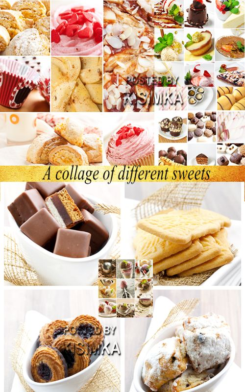 Stock Photo: A collage of different sweets