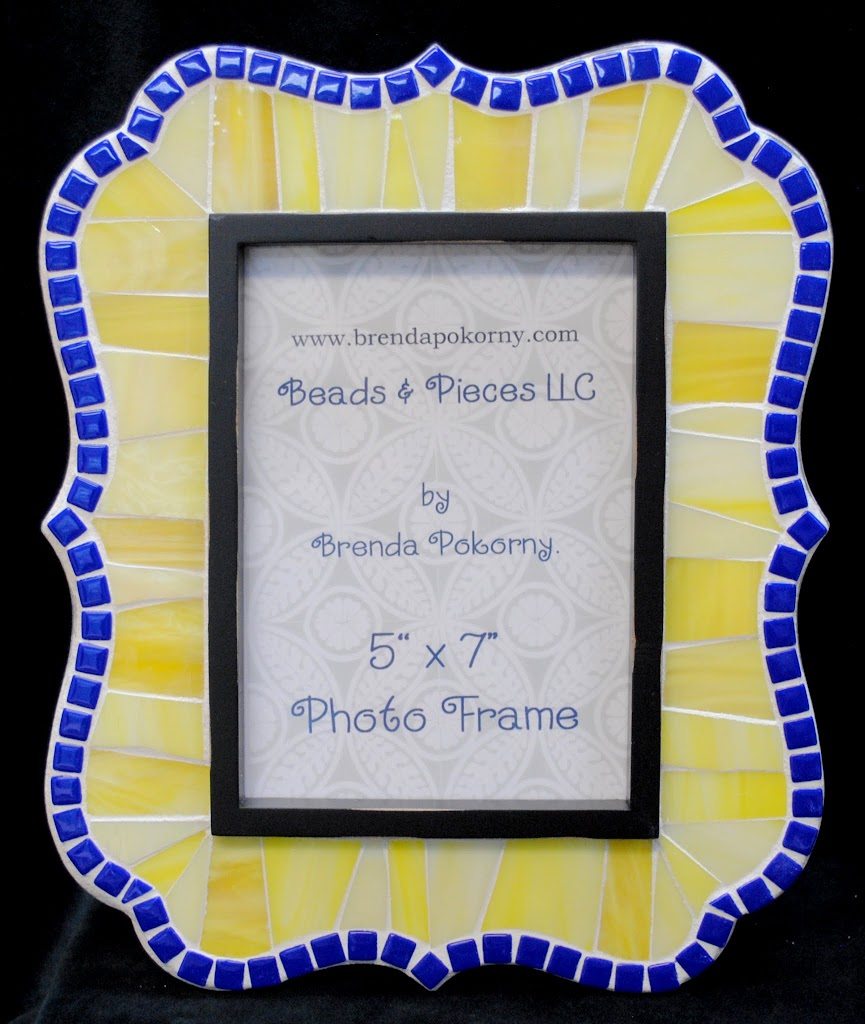"Sunlight Yellow and Cobalt Blue 5"" x 7"" Mosaic Photo Frame MOF1439"