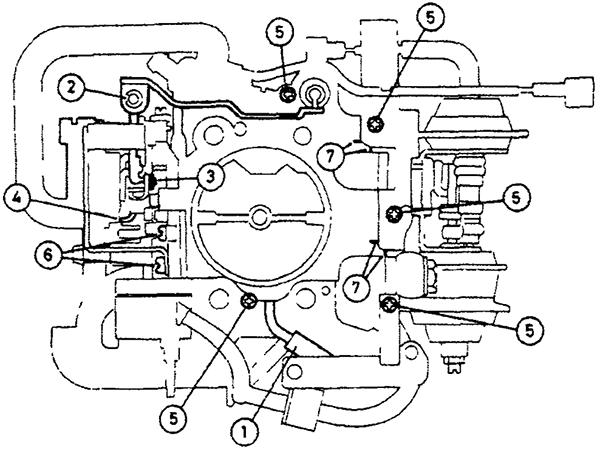 Расположение установочных отметок, винтов и зажимов, на которые необходимо обратить внимание/сделать перед разборкой карбюратора на моделях Suzuki SJ413
