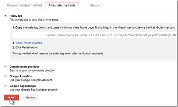 Google Search Console Meta Tag Verification