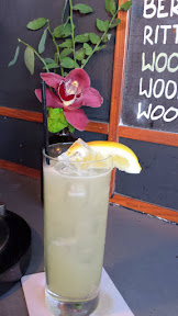 lyde Common cocktail Pacific Standard with vodka, lemon, ginger, honey, soda is at special happy hour price