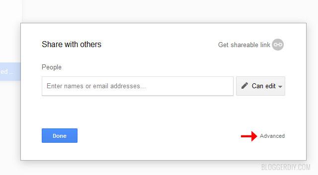 Google drive advanced file settings