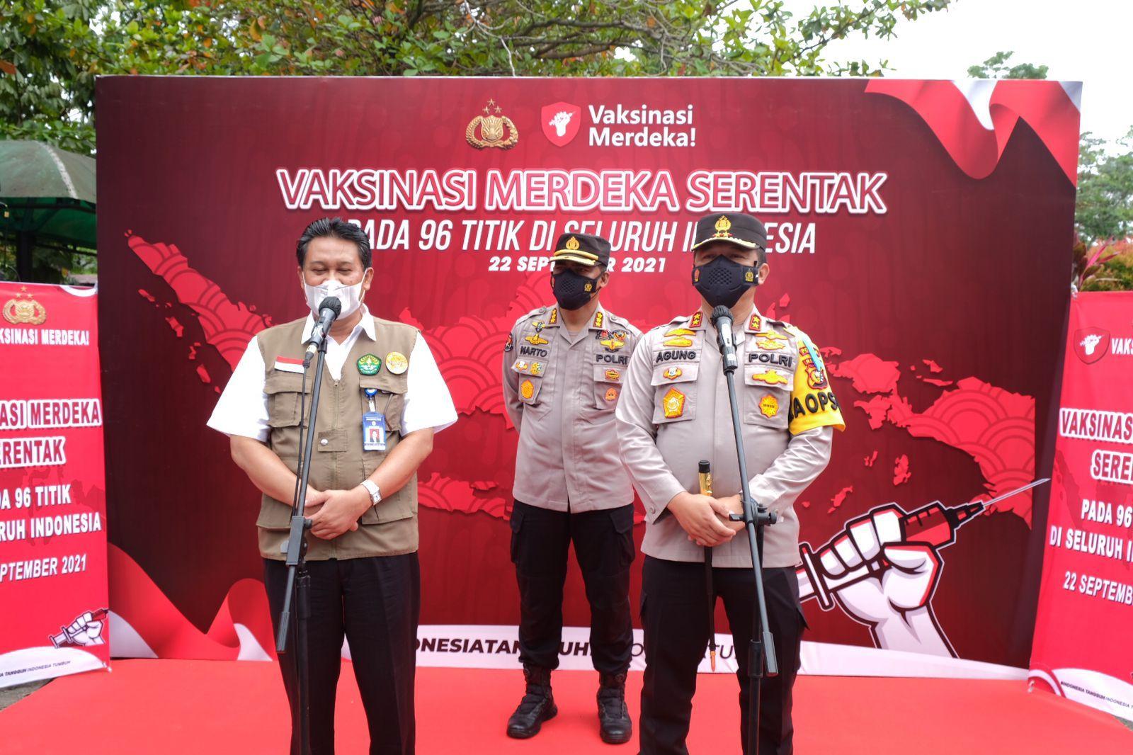 Vaksinasi Merdeka Serentak, Polda Riau Gandeng Perguruan Tinggi Siapkan 9000  Vaksin Dan 1500 Paket Bansos