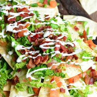 BLT Nachos with Homemade Baked Cool Ranch Tortilla Chips