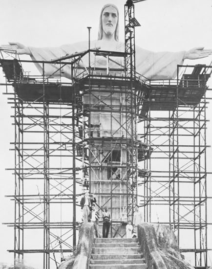 Rio de Janeiro Statue of Christ being built on a Mountaintop in 1931