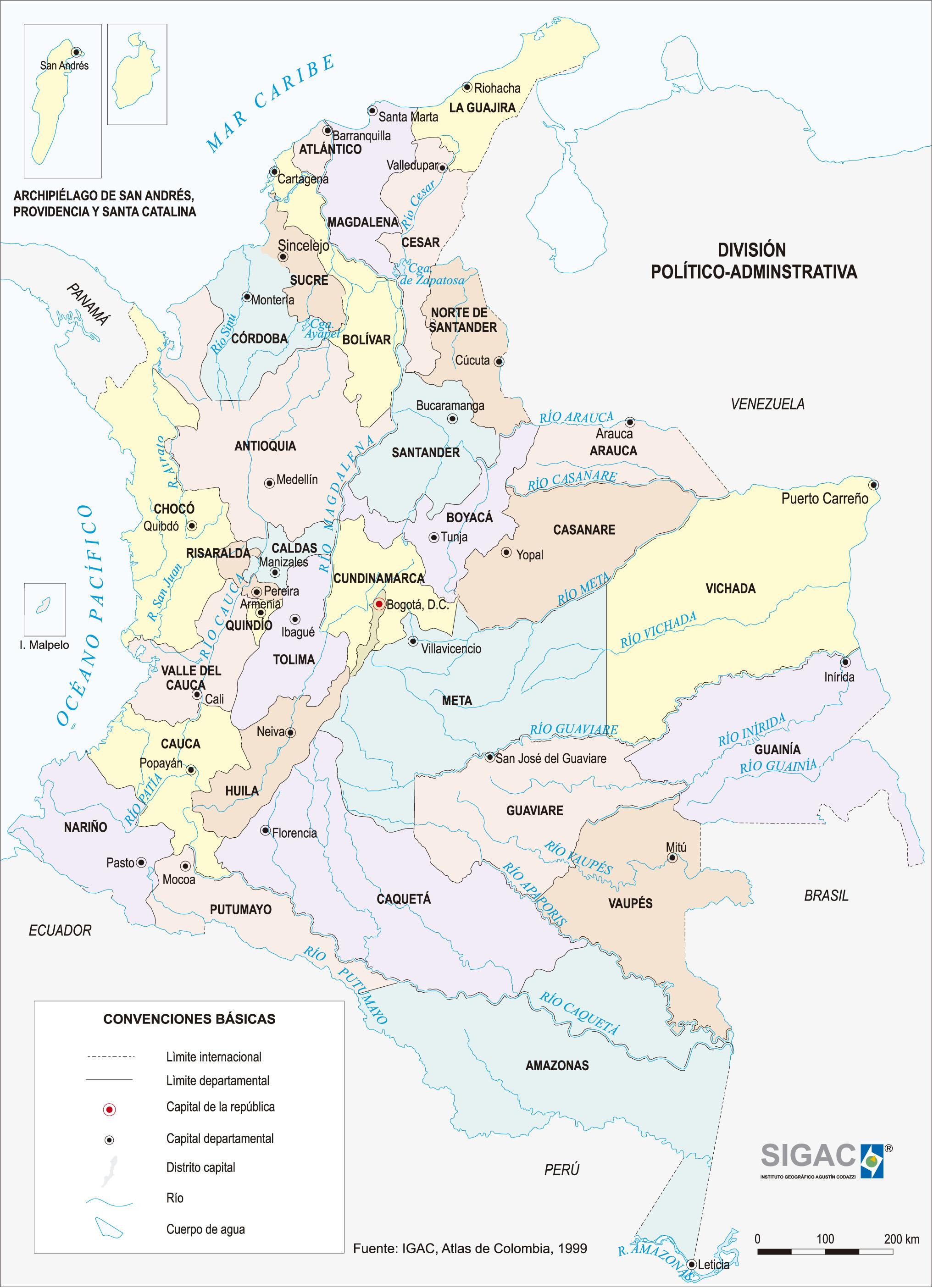 Mapa politico de Colombia para imprimir 4