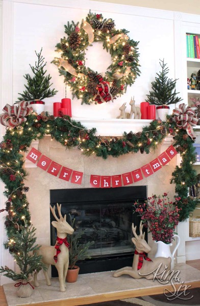 Christmas mantel with burlap and red plaid