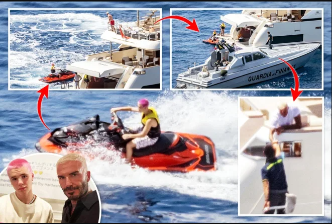 David Beckham is 'quizzed by police in Italy after his children Cruz, 16, and Harper, 10, jet-ski off luxury yacht on the Amalfi coast' (photos)