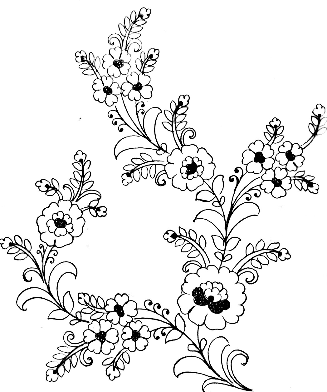 How to draw flower design on paper/flower design images drawing/flower embroidery design to draw.