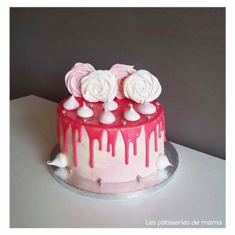 Layer Cake Rose Glacage Chocolat Blanc