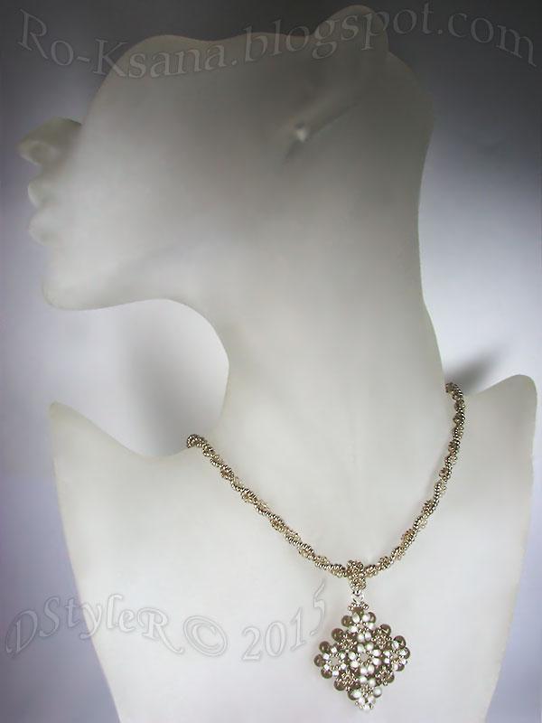 """""""Silvery Snowdrops"""" Beaded pendant   RAW & 2-beads Twisted Ndebele rope Кулон """"в крестик"""" и витой жгут ндебеле на 2 бисерины"""