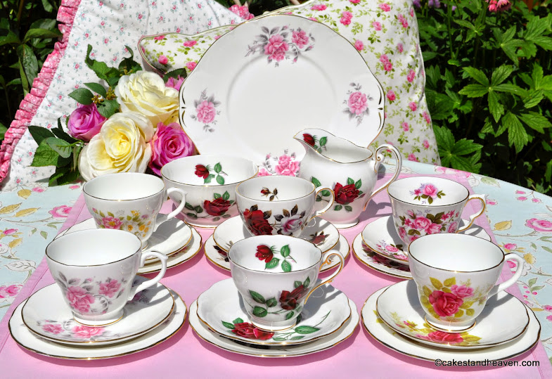 beautiful English Rose mismatched vintage tea set for six