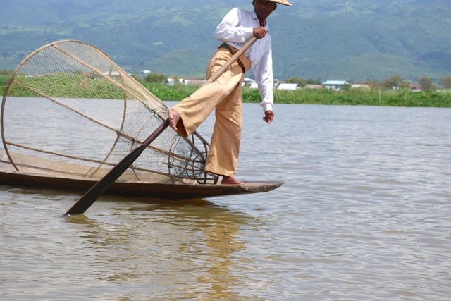 Leg rowing fisherman in Inle Lake. From Romping on the Fertile Waters: The Bounties of Inle Lake, Myanmar