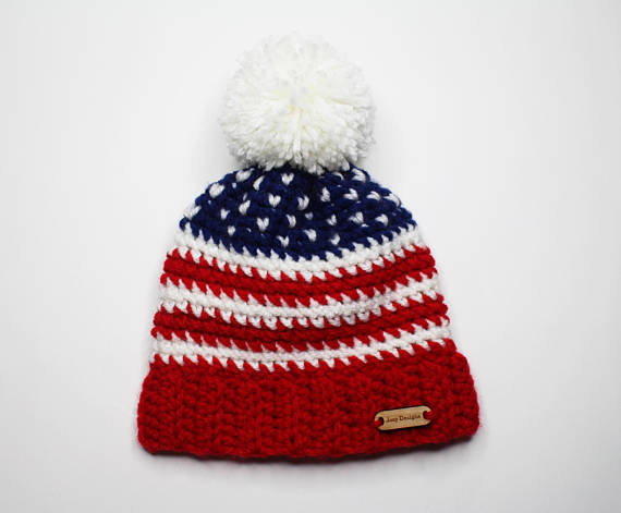 american flag crocheted hat