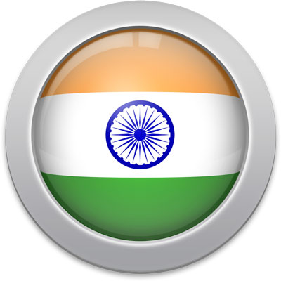 Indian flag icon with a silver frame