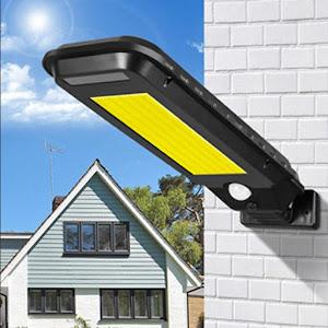 Lampa solara T-100A, senzor de miscare, rezistenta la apa, Negru
