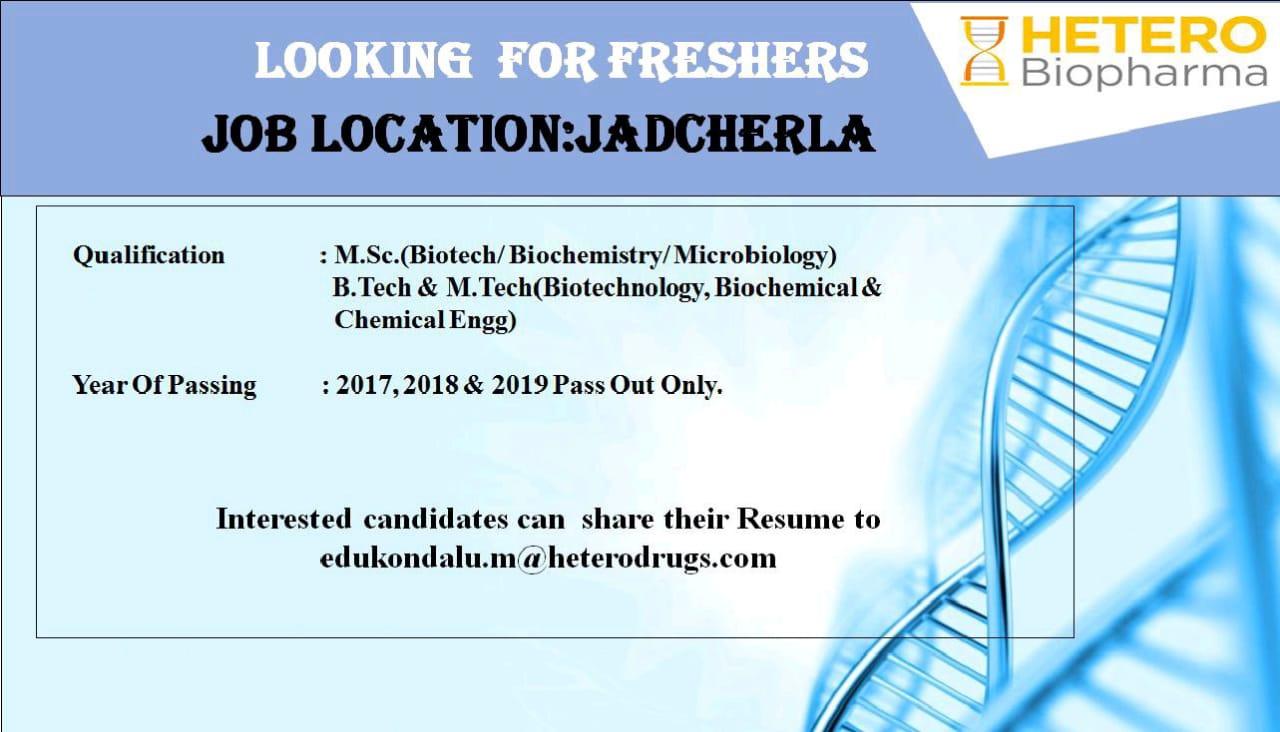 Hetero Biopharma - Job Opening for Fresher   Apply Now