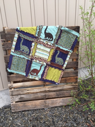 Dinosaur Small Baby Crib Size Rag Quilt A Vision To Remember All