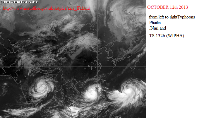 3 cyclones in west pacific oct 2013
