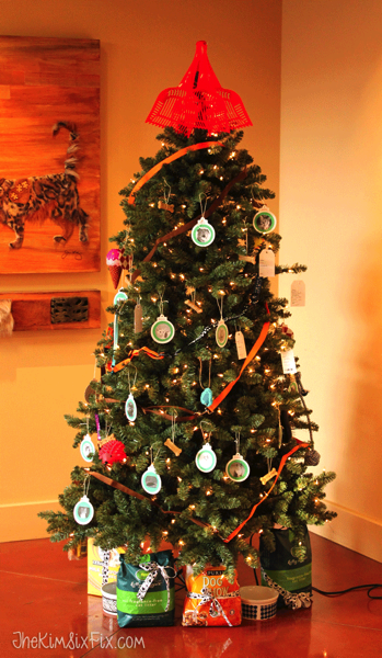 An animal shelter tree decorated with donations
